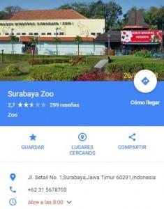 mapa del zoo de Surabaya