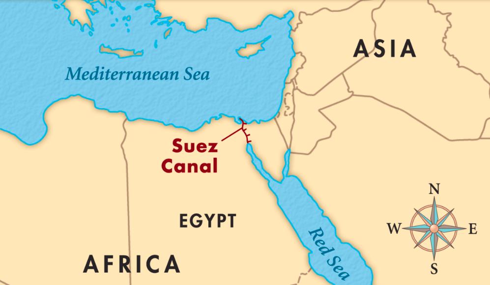 Mapa del Canal de Suez.